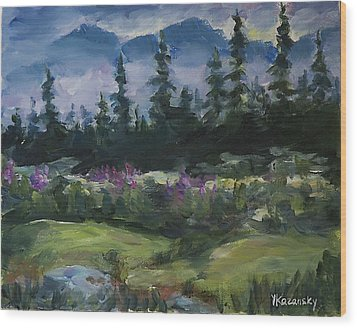 Wood Print featuring the painting Alaskan Woods by Yulia Kazansky