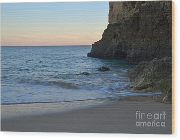 Albandeira Beach Welcoming Twilight 2 Wood Print by Angelo DeVal