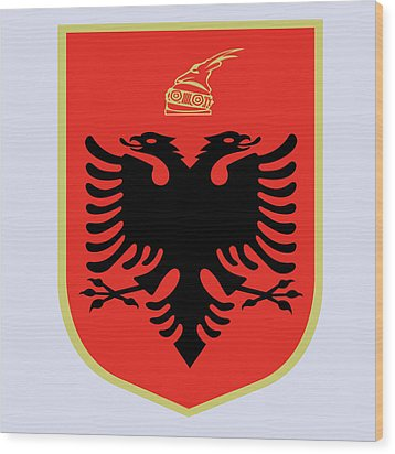 Wood Print featuring the drawing Albania Coat Of Arms by Movie Poster Prints