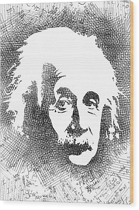 Albert Einstein Bw  Wood Print by Mihaela Pater