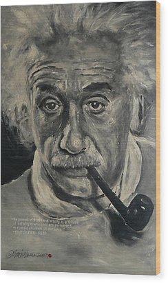 Albert Einstein Wood Print by Eddie Lim