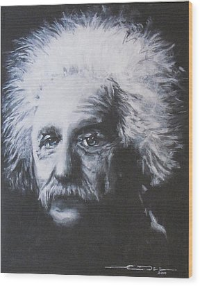 Albert Einstein Wood Print by Eric Dee
