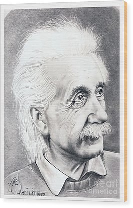 Albert Einstein  Wood Print by Murphy Elliott