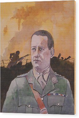 Wood Print featuring the painting Albert Jaka Vc by Ray Agius