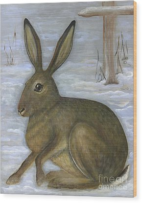 Albert The Hare Wood Print by Anna Folkartanna Maciejewska-Dyba