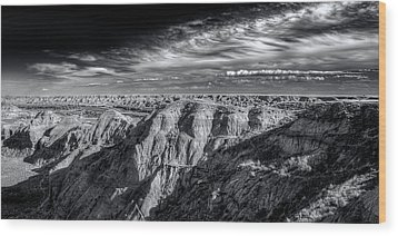 Wood Print featuring the photograph Alberta Badlands by Wayne Sherriff