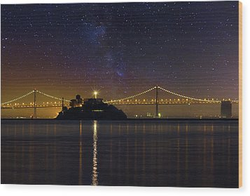 Alcatraz Island Under The Starry Night Sky Wood Print by David Gn