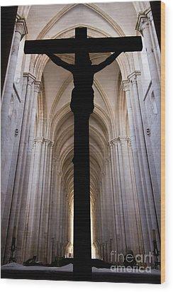 Alcobaca Monastery Church Crucifix Wood Print by Jose Elias - Sofia Pereira