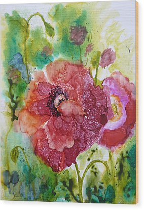 Alcohol Poppies Wood Print