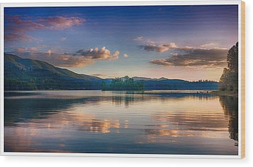 Alder Lake Sunset Wood Print