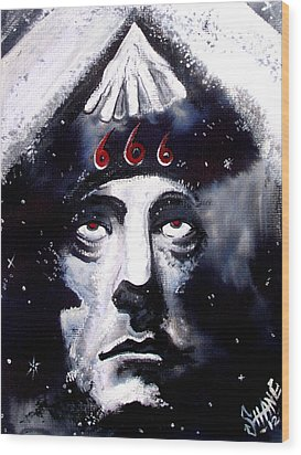 Aleister Crowley Space In Time With The Great Beast Wood Print by Sam Hane
