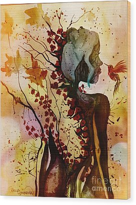 Wood Print featuring the painting Alex In Wonderland by Denise Tomasura