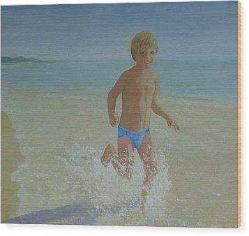 Alex On The Beach Wood Print