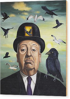 Alfred Hitchcock Wood Print by Leah Saulnier The Painting Maniac