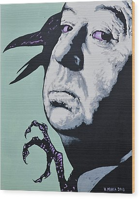 Alfred Hitchcock Wood Print by Victor Minca