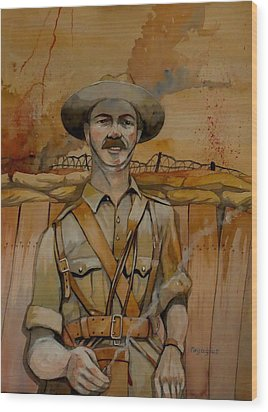 Wood Print featuring the painting Alfred Shout Vc by Ray Agius