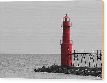 Algoma Lighthouse Bwc Wood Print