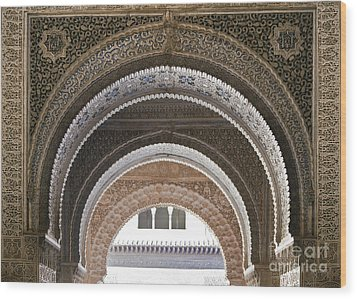Alhambra Arches Wood Print by Jane Rix