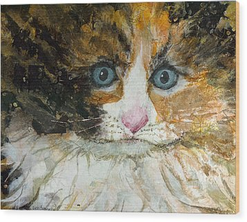 Wood Print featuring the painting Ali Cat 1 by Lynn Babineau