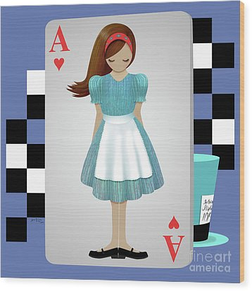 Alice 3d Flying Cards Wood Print by Audra Lemke