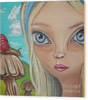 Alice Finds A Snail Wood Print by Jaz Higgins