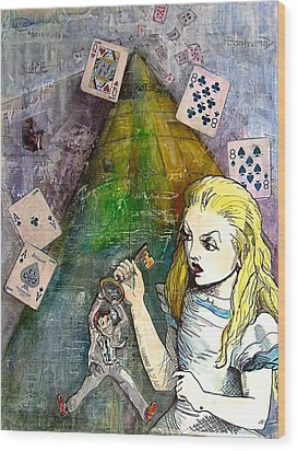 Alice In Bankland Wood Print by Christine Rossi