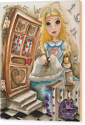 Alice In Wonderland 2 Wood Print by Lucia Stewart