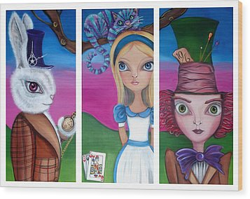Alice In Wonderland Inspired Triptych Wood Print by Jaz Higgins