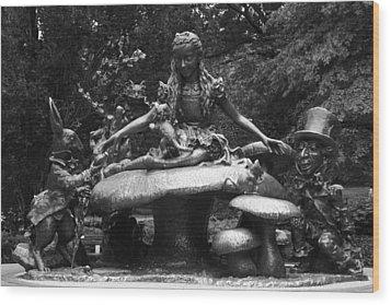 Alice In Wonderland Sculpture Central Park Wood Print