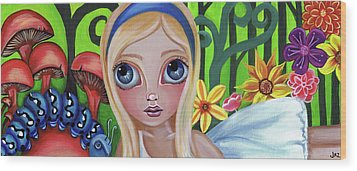 Alice Meets The Caterpillar Wood Print by Jaz Higgins