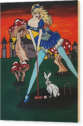 Alice's  In Wonderland Wood Print