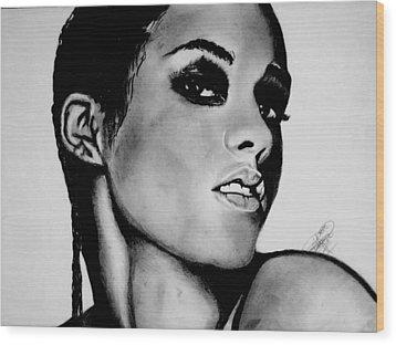 Alicia Keys Drawing Wood Print by Keeyonardo