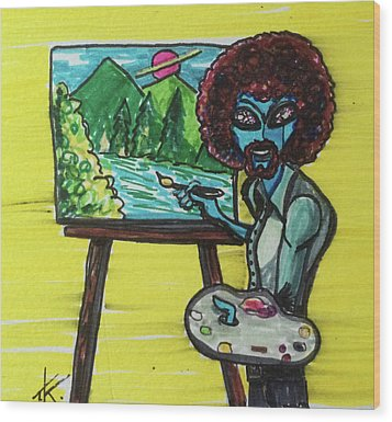 alien Bob Ross Wood Print by Similar Alien