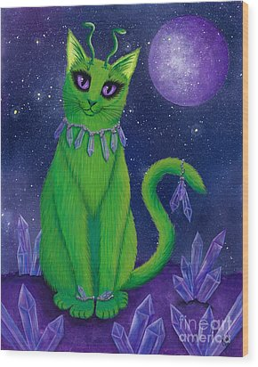 Wood Print featuring the painting Alien Cat by Carrie Hawks