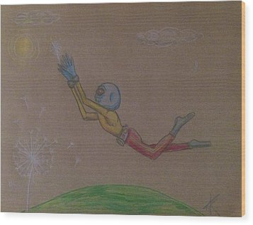 Alien Chasing His Dreams Wood Print by Similar Alien