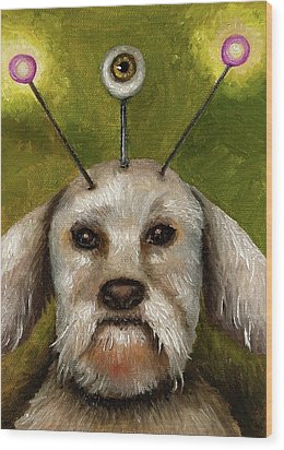 Alien Dog Wood Print by Leah Saulnier The Painting Maniac