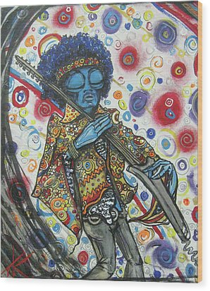 alien Jimi Hendrix Wood Print by Similar Alien