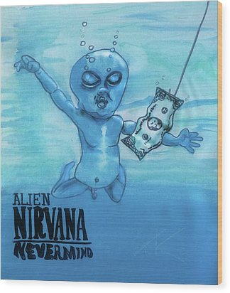 Alien Nevermind Wood Print by Similar Alien
