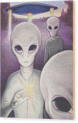Alien Offering Wood Print by Amy S Turner