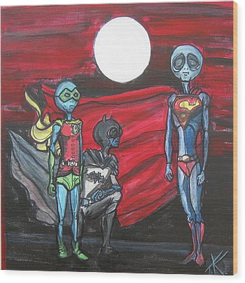 Alien Superheros Wood Print by Similar Alien