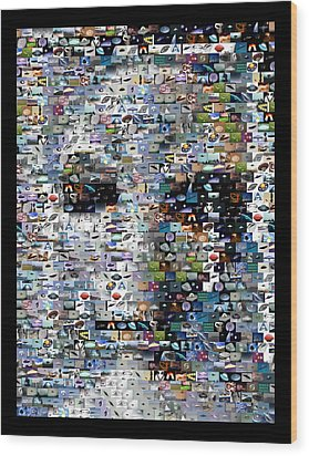 Wood Print featuring the mixed media Alien Ufo Mosaic by Paul Van Scott