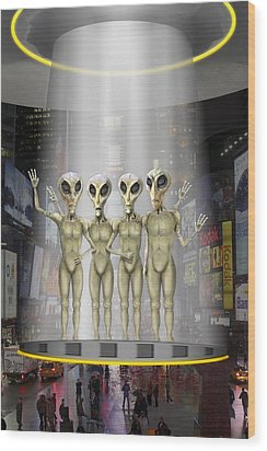 Alien Vacation - Beamed Up From Time Square Wood Print by Mike McGlothlen