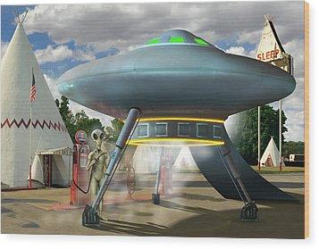 Alien Vacation - Gasoline Stop Wood Print by Mike McGlothlen