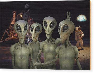 Alien Vacation - Kennedy Space Center Wood Print by Mike McGlothlen