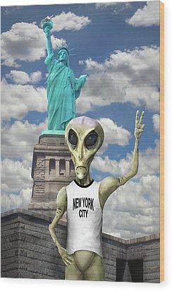 Alien Vacation - New York City Wood Print by Mike McGlothlen
