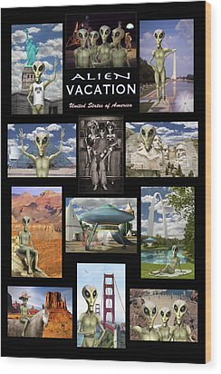 Alien Vacation - Poster Wood Print by Mike McGlothlen