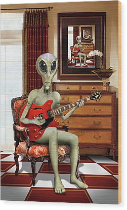 Alien Vacation - We Roll With Jazz Wood Print by Mike McGlothlen