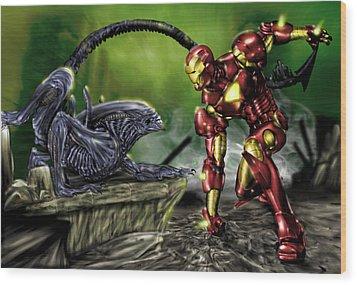 Alien Vs Iron Man Wood Print by Pete Tapang