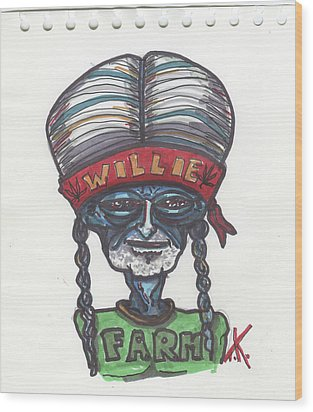 alien Willie Nelson Wood Print by Similar Alien