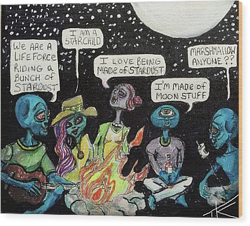 Aliens By The Campfire Wood Print by Similar Alien